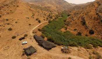 The site of a prehistoric village in a valley east of Kibbutz Ein Gev in northern Israel.