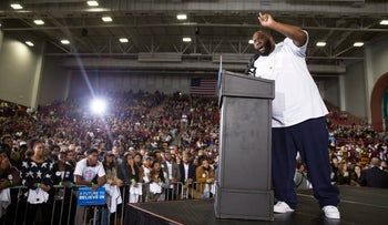 Killer Mike speaks during a rally with Bernie Sanders, I-Vt., at Morehouse College, Feb. 16, 2016.