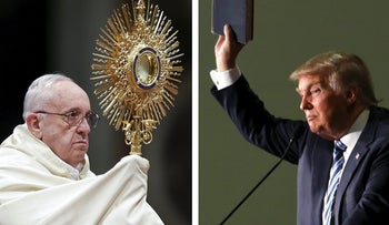 """U.S. Republican presidential candidate Donald Trump is """"not Christian"""" because of his views on immigration, Pope Francis says."""