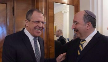 Russian Foreign Minister Sergey Lavrov with Foreign Ministry director general Dore Gold.