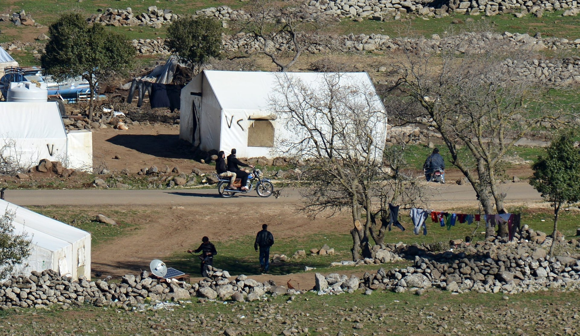 Syrian refugee camp near the border fence between Syria and Israel on the Golan Heights, February 17, 2016.