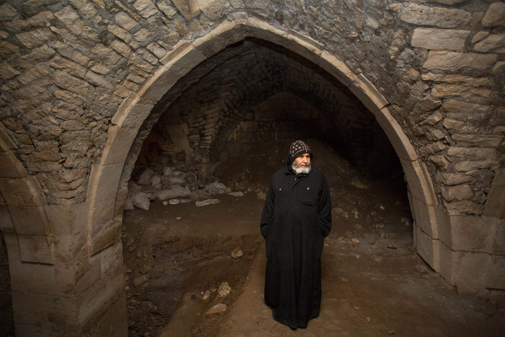 Coptic monk at Church of the Holy Sepulchre in Jerusalem, February 13, 2016.