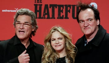 Actors Kurt Russell, left, Jennifer Jason Leigh, center, and director Quentin Tarantino arrive for the  German premier of the film 'The Hateful Eight' in Berlin, Jan. 26, 2016.
