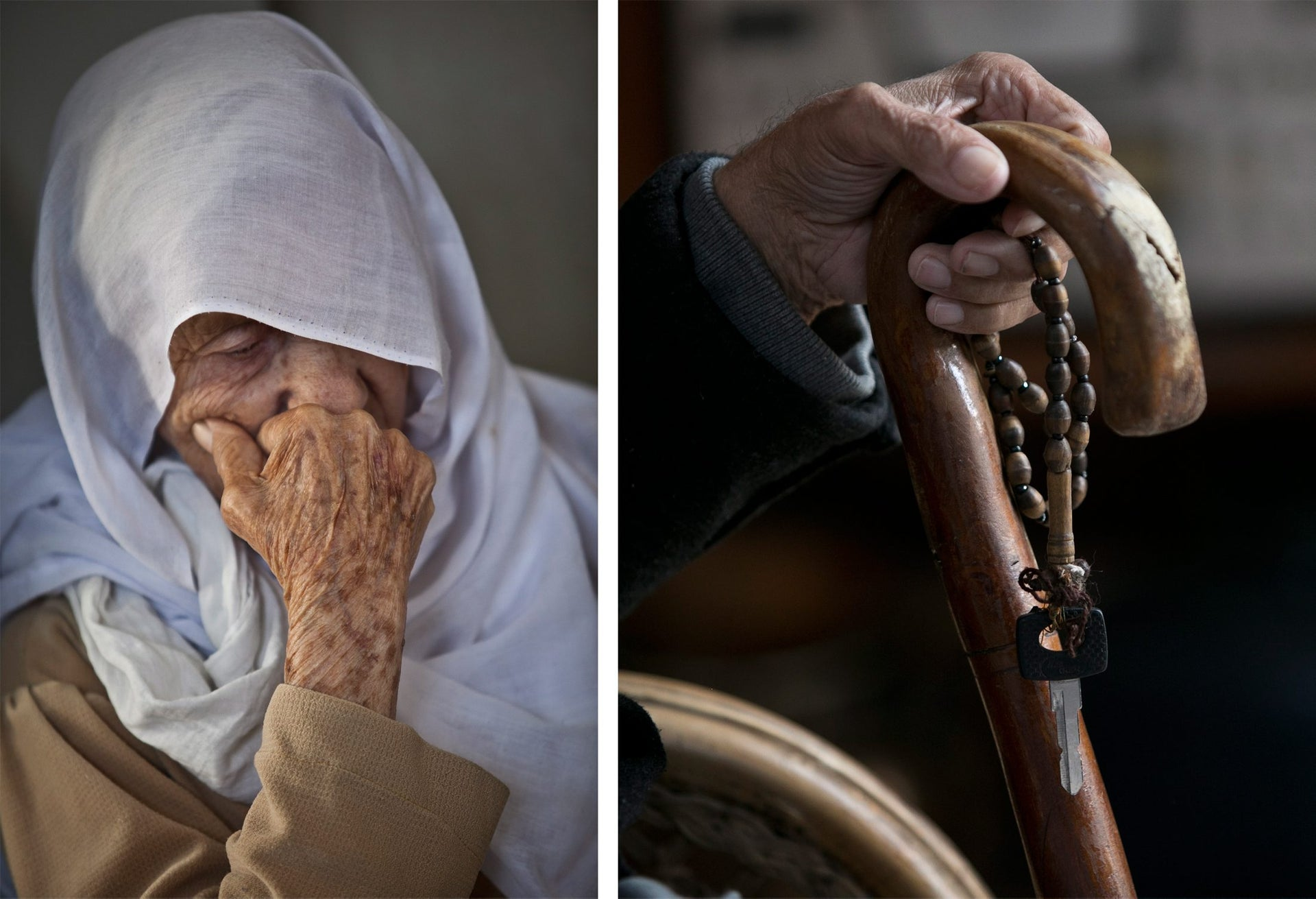 Left: A woman in Tira; right: In the shuk in Taybeh.