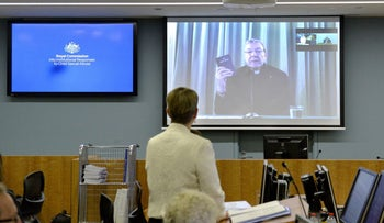 Australia's Cardinal George Pell giving evidence via video-link from a hotel in Rome to the Royal Commission into Institutional Responses to Child Sexual Abuse in Sydney, February 29, 2016.
