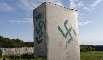 A monument commemorating the pogrom of Jews in the village of Jedwabne, Poland, is found vandalized on September 01, 2011.