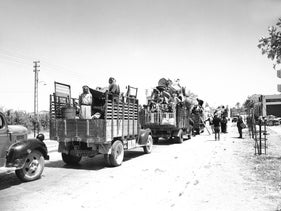 A convoy of refugees departs from Jaffa, May 1948.