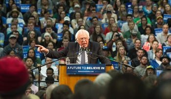 Bernie Sanders speaks at a rally at Colorado State University's Molby Areana in Ft. Collins, February 28, 2016.