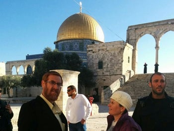 Right wing activist Yehuda Glick ascends to the Temple Mount complex on Tuesday, March 1, 2016.