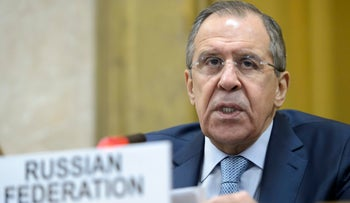Russian Foreign Minister Sergey Lavrov delivers his statement during a high-level segment of the disarmament conference, Tuesday, March 1, 2016.