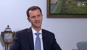 In this undated image made from video, Syrian President Bashar Assad is interviewed in Damascus, Syria, by a journalist with Spanish newspaper El Pais newspaper published Sunday Feb. 21, 2016.