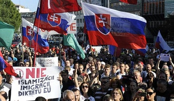 Demonstrators against an influx of Muslim refugees mainly from the far-right 'People's Party- Our Slovakia' movement, September 12, 2015.
