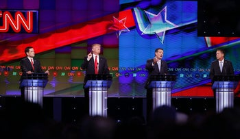 Sen. Ted Cruz speaks as GOP presidential candidates, Sen. Marco Rubio, left, and businessman Donald Trump attempt to interrupt, during the Republican presidential debate, March 10, 2016