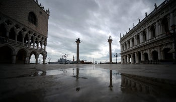 San Marco Square in Venice, shown empty ahead of the Italy-France bilateral summit, March 8, 2016.