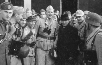 Otto Skorzeny with the liberated Mussolini – 12 September 1943.