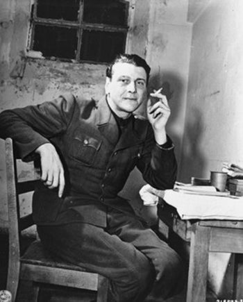 Otto Skorzeny Waiting in a cell as a witness at the Nuremberg trials – 24 November 1945.