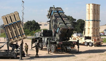 Air defense systems stationed at the Hatzor Air Force Base in central Israel for the Juniper Cobra joint military exercise on February 25, 2016.