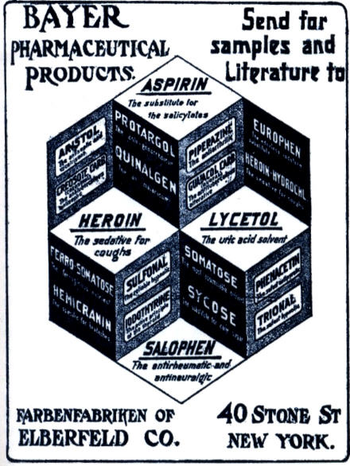 A black-and-white advert for Bayer products, including Aspirin and Heroin