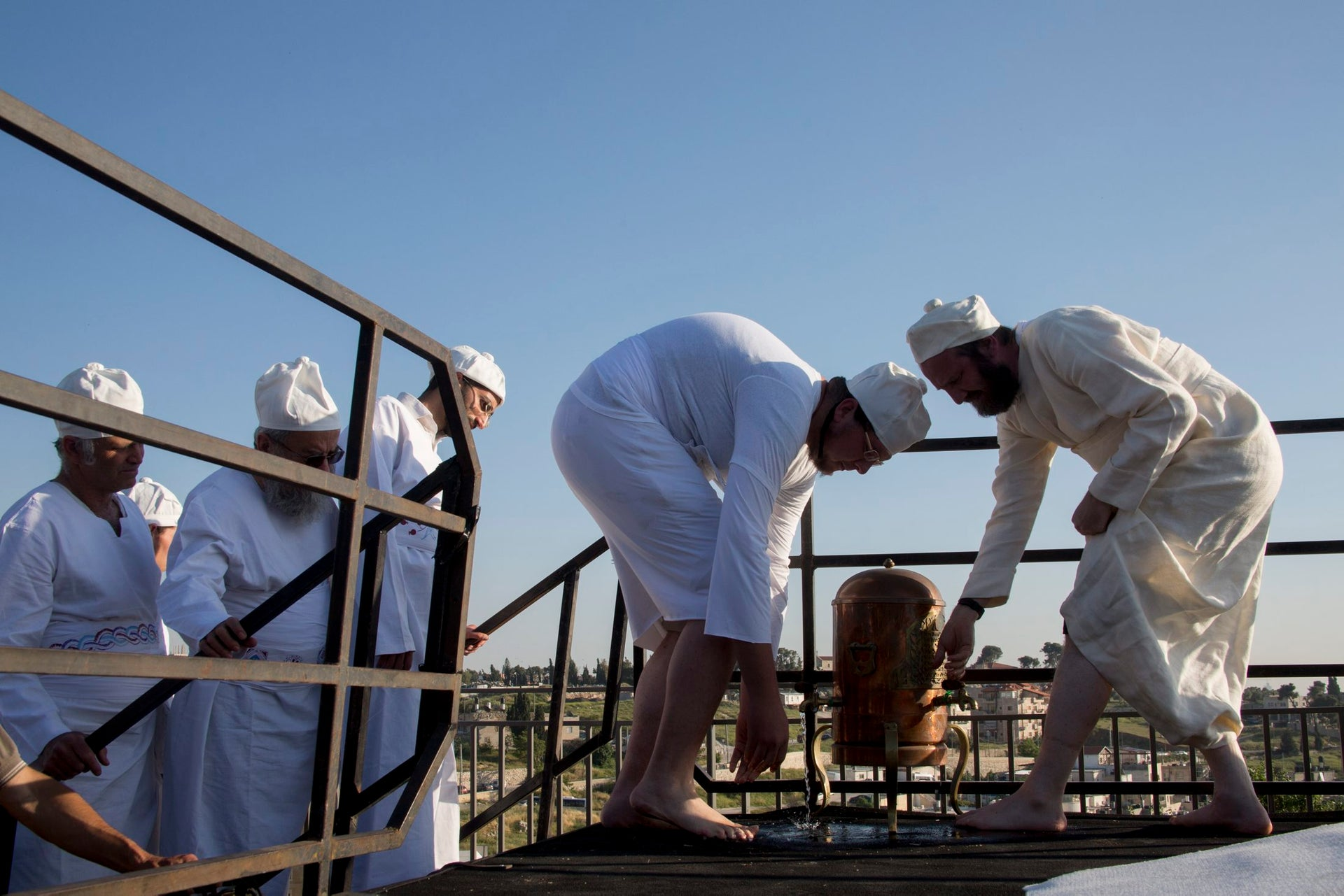 Priests at a Passover sacrifice ritual in Jerusalem.