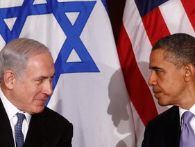 U.S. President Barack Obama meets Prime Minister Benjamin Netanyahu at the United Nations, New York, U.S., September 21, 2011.