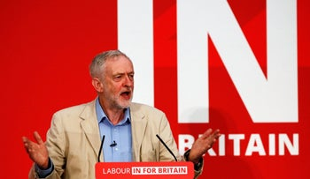 Britain's Labour Party leader Jeremy Corbyn gives a speech on Britain's membership of the European Union in London, Britain April 14, 2016.