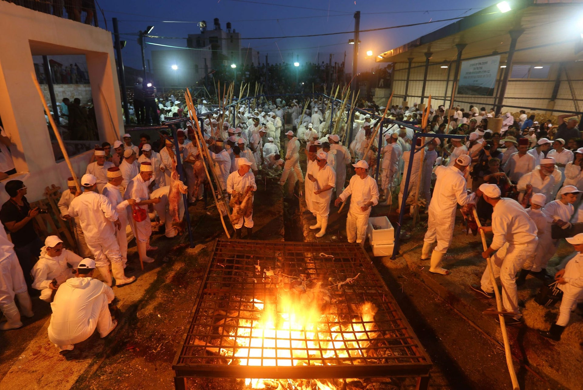 Samaritans roast the animals after slaughter atop Mt. Gerizim as part of the annual Passover sacrifice, this year's was held on April 20, 2016.