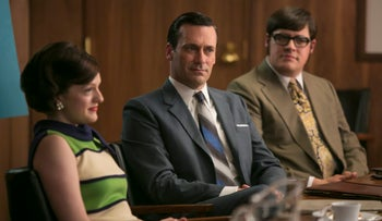 Elisabeth Moss, Jon Hamm and Rich Sommer appear in a scene from 'Mad Men,' a show about American advertising.