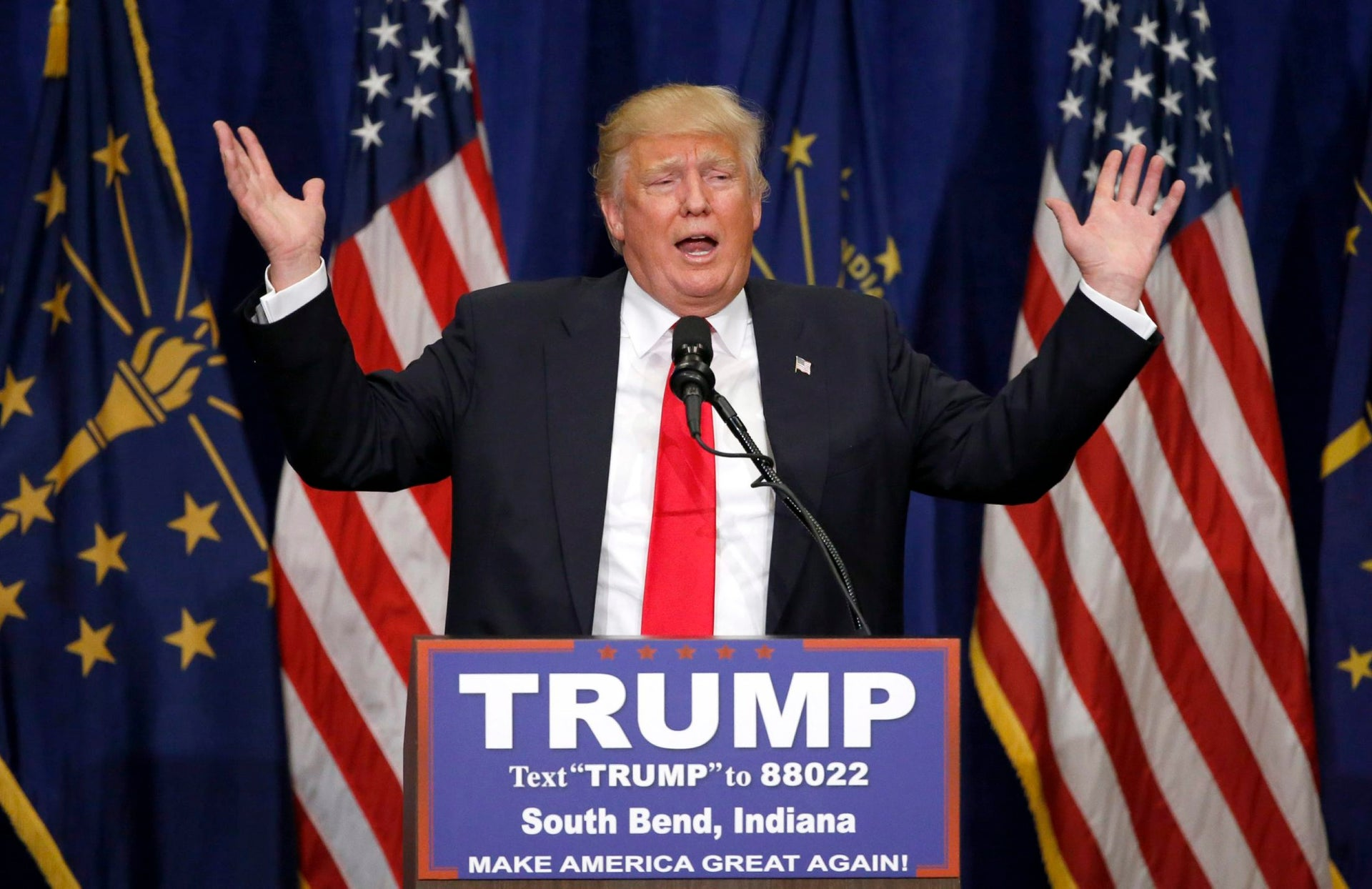 U.S. Republican presidential candidate Donald Trump speaks during a campaign stop, South Bend, Indiana, May 2, 2016.