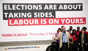 British Labour Party leader Jeremy Corbyn campaigning ahead of Thursday's municipal elections.