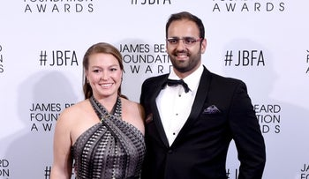 Alon Shaya of Shaya restaurant in New Orleans poses with his wife Emily Ostuw Shaya on the red carpet before the 2016 James Beard Awards in Chicago, May 2, 2016.