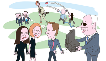 An illustration showing Netanyahu offering Herzog suitcases of money, as the latter looks over his shoulder at Yacimovich and Livni, who aren't pleased. In the background, Shaked and Bennett throw vegetables at IDF deputy chief of staff Yair Golan. Lapid and Lieberman watch.