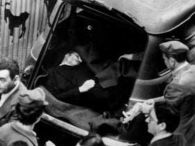 The bullet-riddled body of Italian Premier Aldo Moro is found in the back of a vehicle near his Christian Democrat Party headquarters in Rome, May 9, 1978.