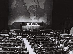 The UN vote on the partition of Palestine, 1947.