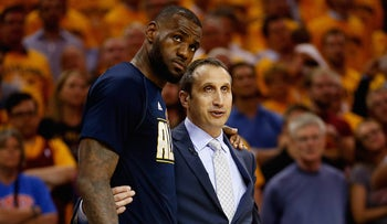 Israeli-American coach David Blatt of the Cleveland Cavaliers speaking with star player LeBron James during the NBA's Eastern Conference Finals in Atlanta, Georgia, May 26, 2015.