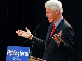 Former President Bill Clinton campaigns for his wife, Democratic candidate Hillary Clinton, in Paterson, N.J., in May 2016.