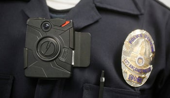 A file photo of a Los Angeles police officer wearing a body-mounted camera.