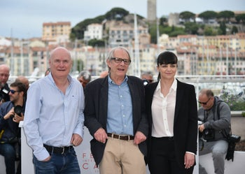 British director Ken Loach (center) at the Cannes Film Festival with the stars of his latest movie, 'I, Daniel Blake.'