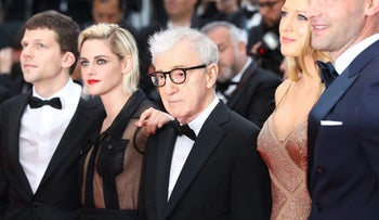 Woody Allen with cast members from his 47th movie, 'Cafe Society,' which premiered at the Cannes Film Festival.