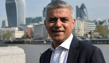 Newly elected London Mayor Sadiq Khan, arriving for his first day of work at City Hall, on May 9, 2016.