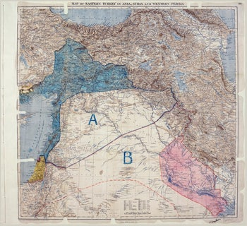 The Sykes-Picot Agreement map signed on May 8, 1916.