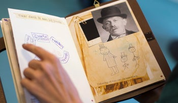 A museum display at the National Holocaust Museum depicting a picture of a deported Jewish resident of an Amsterdam neighborhood, Amsterdam, Netherlands, May 12, 2016.