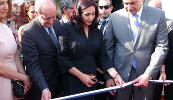 Culture and Sports Minister Miri Regev cutting the ribbon at the inauguration ceremony of the official Israeli pavilion at the 69th Cannes Film Festival, on May 16, 2016.