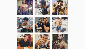 A screenshot of the Israeli Instagram account 'Hot Dudes and Hummus,' May 17, 2016.