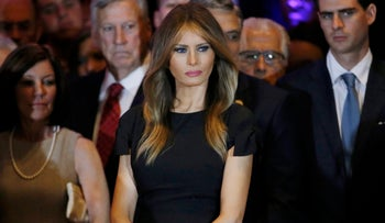 Melania at a primary night rally in Manhattan, New York, April 26, 2016.