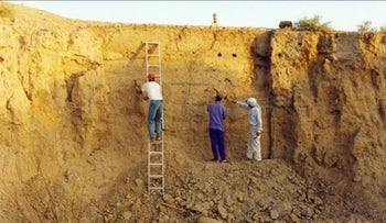Excavating at Tel el-Ajjul, Gaza, where the remains of a rich Canaanite trading hub dating to 3600 years ago has been found.