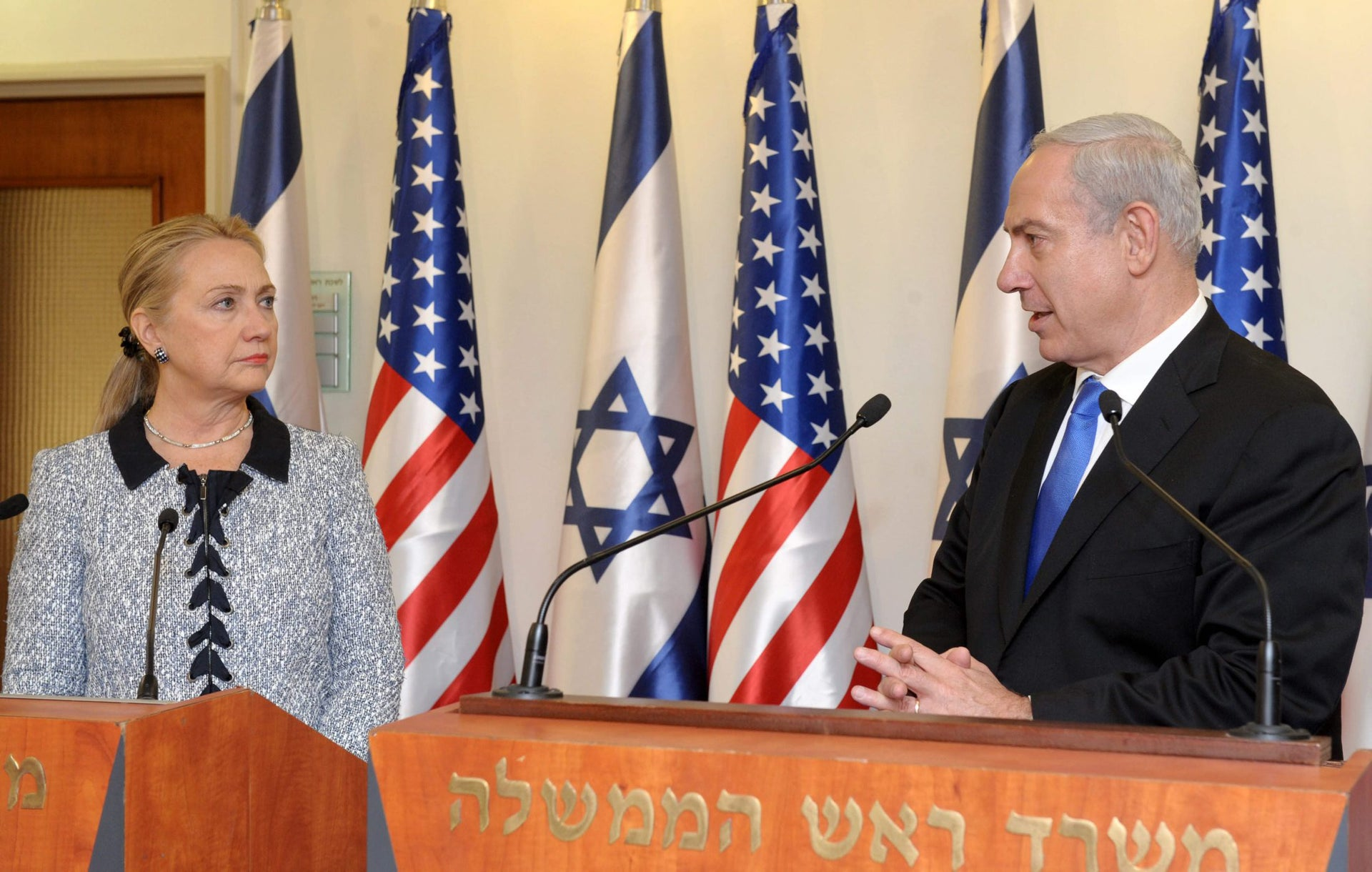 Israel's Prime Minister Benjamin Netanyahu and then-U.S. Secretary of State Hillary Clinton delivering joint statements in Jerusalem on November 20, 2012.