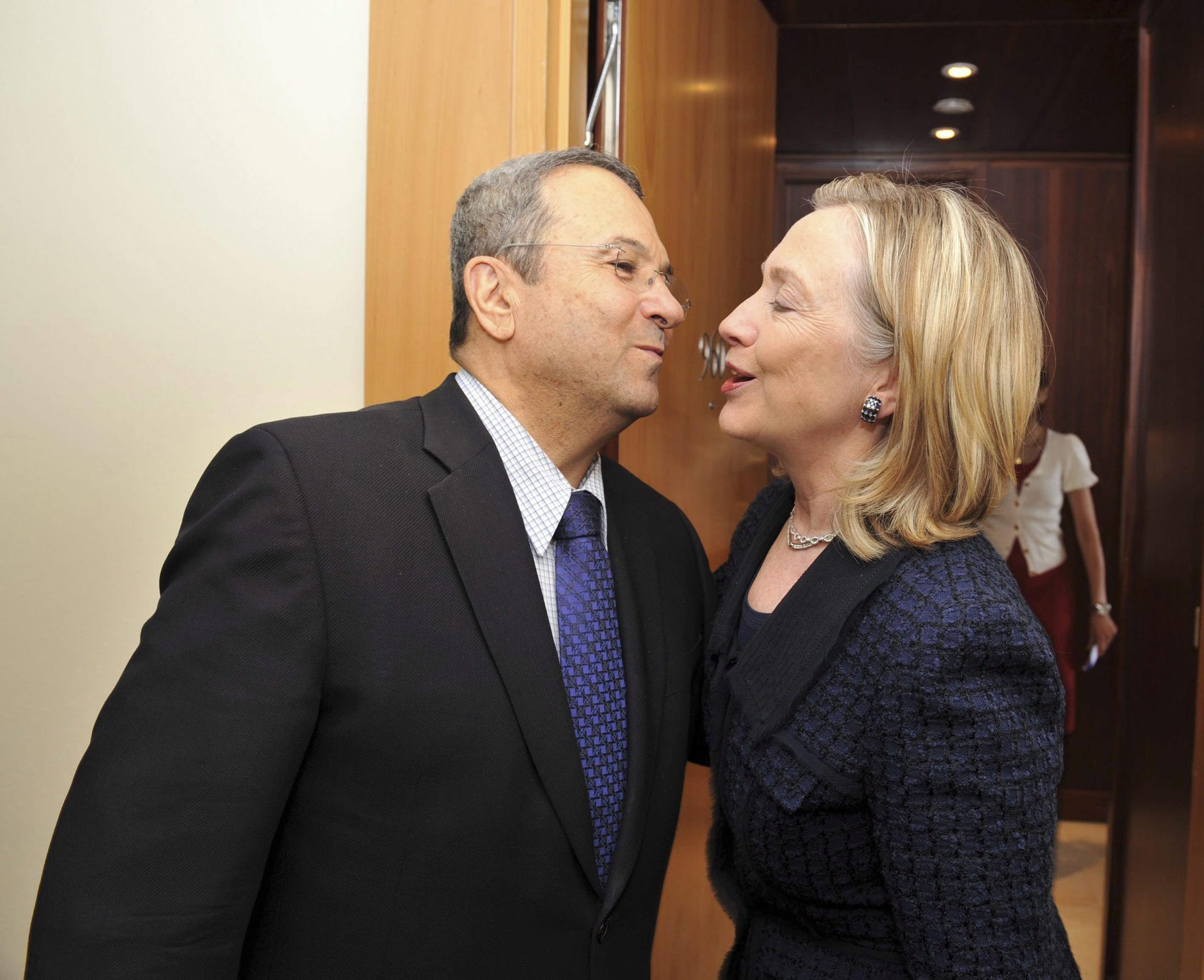 Hillary Clinton is greeted by Israel's then-Defense Minister Ehud Barak in Jerusalem, September 15, 2010.