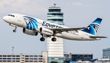 An EgyptAir Airbus A320 takes off from Vienna International Airport, Austria, August 21, 2015.