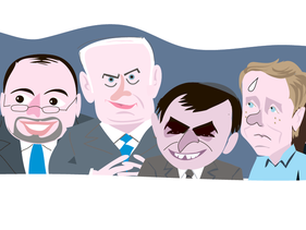 An illustration depicting Ya'alon, Lieberman, Netanyahu, Elkin, Herzog and Yacimovich.