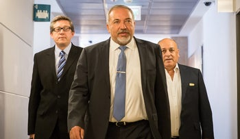 Avigdor Lieberman arriving to a coalition negotiations meeting, May 19, 2016.
